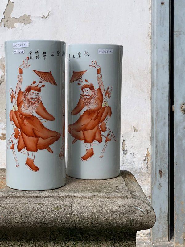 Coppia vasi porta pennelli, porcellana cinese